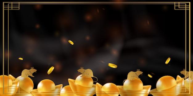 Китайский новый год крысы знак зодиака. красный и золотой праздничный фон с крысой.