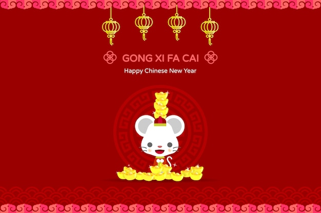 Chinese new year red packet illustration. year of rat.