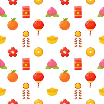 Chinese new year seamless pattern isolated .