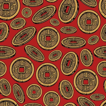Chinese new year seamless pattern in vintage style with lucky coins on red background