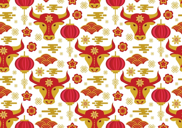 Chinese new year seamless pattern. year of the bull