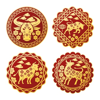 Chinese new year  set seals with golden oxen  illustration
