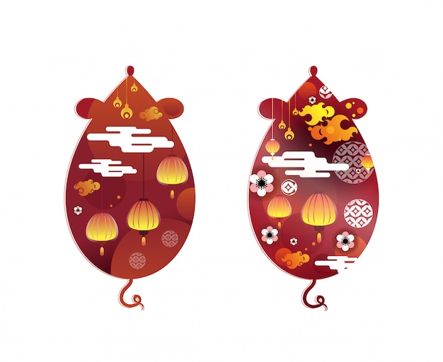 Chinese new year symbol. rat zodiac and abstract flower texture on mouse shape.