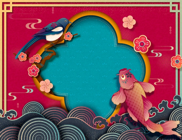 Chinese new year template with koi carps and pica pica in paper art style