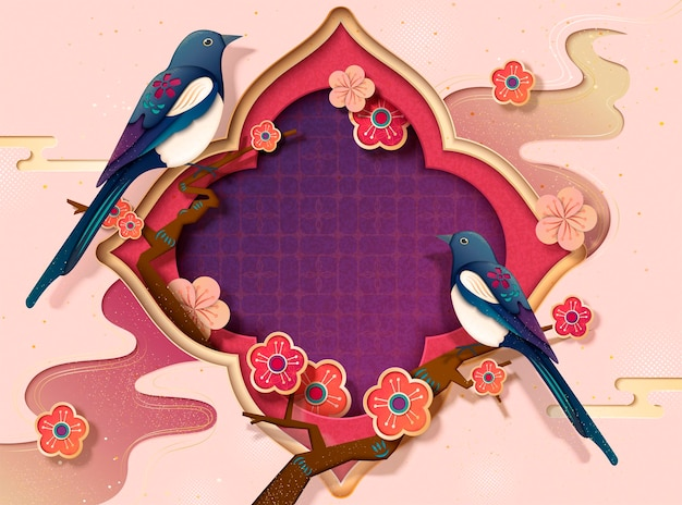 ペーパーアートスタイルのピカピカと梅の花、挨拶の言葉のためのコピースペースと中国の旧正月テンプレート