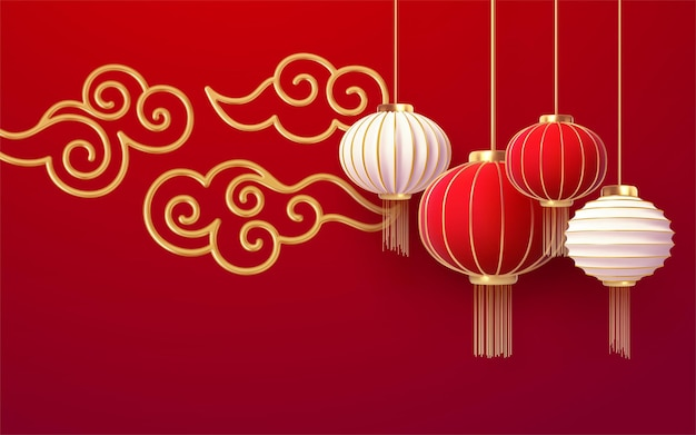 Chinese new year  template with and red lanterns andgolden cloud on the red background.