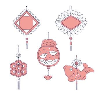 中国の旧正月の伝統的なお金のお守り。中国文化の休日の家の装飾国のお祝いのシンボルのための線画セット。