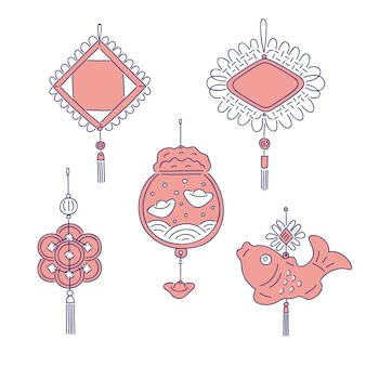 Chinese new year traditional money talismans.  line art set for holiday home decoration national celebration symbols of china culture.