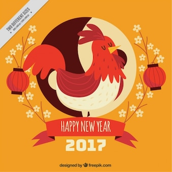 Chinese new year vintage background of nice rooster