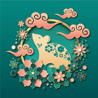 Chinese new year wallpaper in paper style
