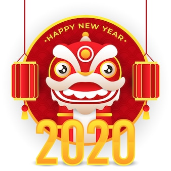 Chinese new year with dragon and lantern and 2020 golden