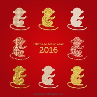 Китайский новый год с обезьяна силуэт фоне