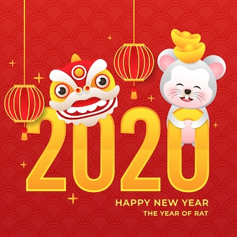 Chinese new year with rat and dragon and lantern