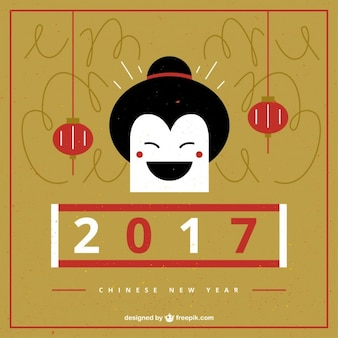 Chinese new year with a smiling geisha