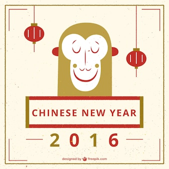 Chinese new year with a smiling monkey
