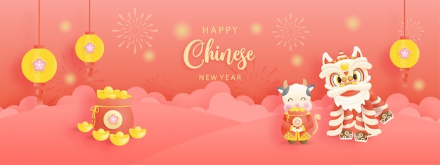 Chinese new year, year of ox with cute ox and chinese lion.