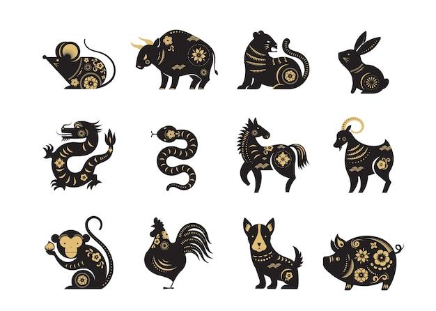 중국 새 해, 조디악 표지판, papercut 아이콘 및 기호.