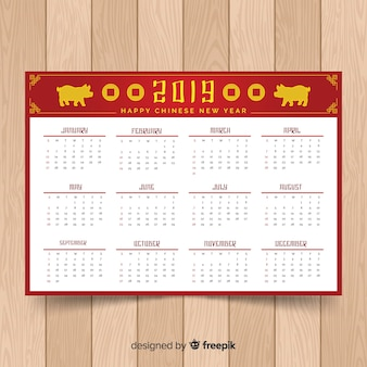 Chinese new years celebration calendars with pigs