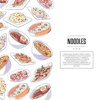 Chinese noodles poster with asian dishes