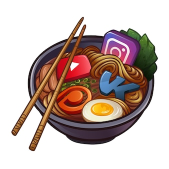 人気のソーシャルネットワークのアイコンを持つ中華麺
