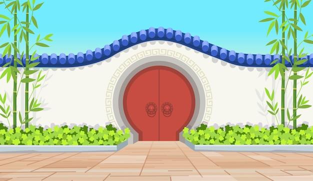 中国の古い赤い円のドア。中国の庭園や寺院への門