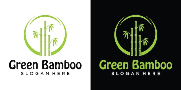 中国または日本の竹草オリエンタルロゴデザイン