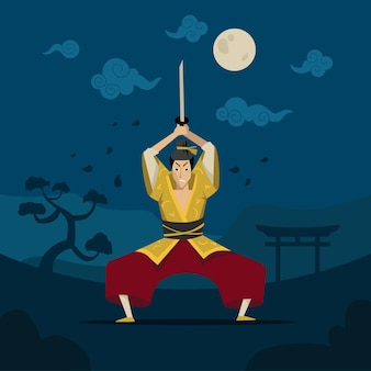 伝統的な着物を着た中国人または日本人の戦士