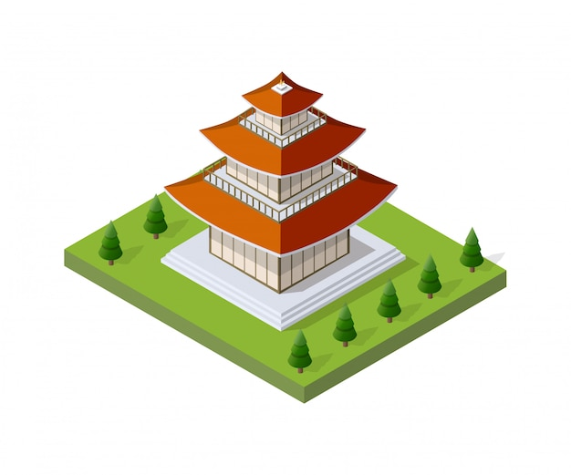 Chinese pagoda building house buddhist art of