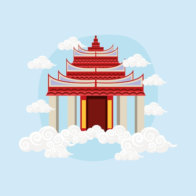 Chinese pagoda and clouds