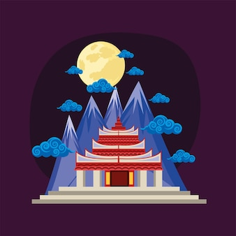 Chinese pagoda and mountains