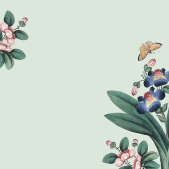 꽃과 나비를 갖춘 중국어 회화 벽지
