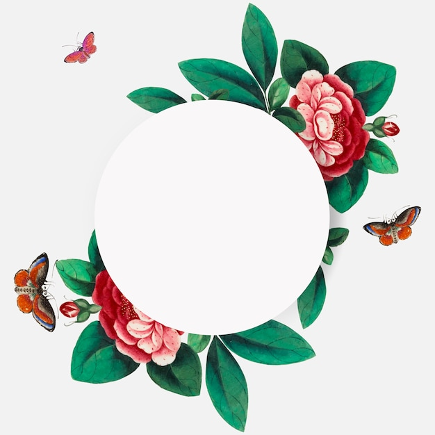 Chinese painting featuring flowers blank circle frame vector
