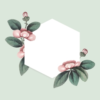 Chinese painting featuring flowers blank hexagon frame