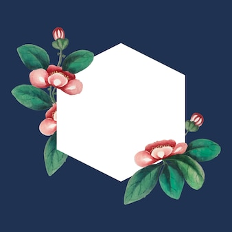 Chinese painting featuring flowers blank hexagon