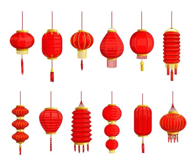 중국어 종이 랜 턴과 아시아 음력 설날 휴일 장식 디자인의 빨간색 램프 격리 된 아이콘