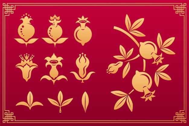 中国のパターン。アジアのオリエンタルゴールド装飾花の要素