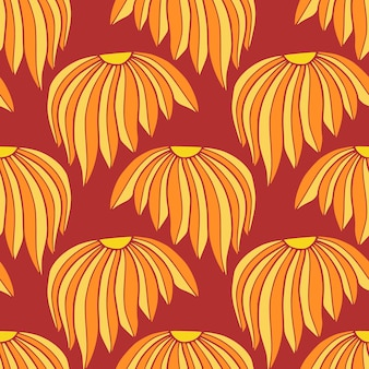 섬유 디자인을 위한 빨간색과 노란색 색상의 중국 패턴. 국화 원활한 벡터 패턴입니다.