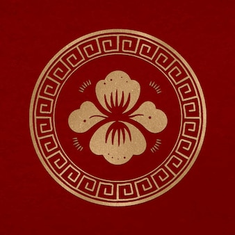 Chinese peony flower badge vector gold new year design element