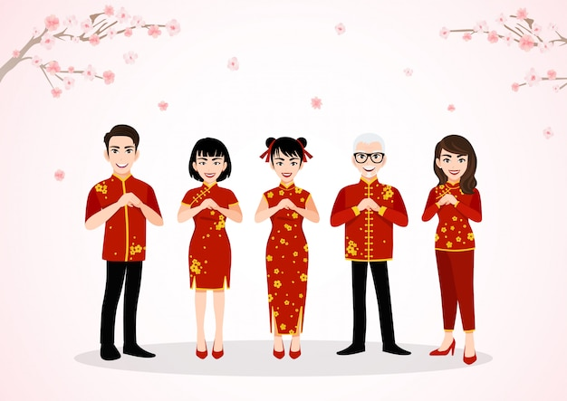 Chinese people cartoon character greeting in chinese new year festival on plum blossom trees with spring season