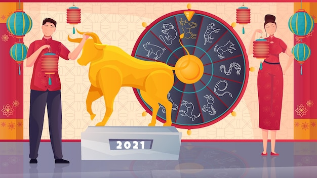 Chinese people horoscope and golden bull symbol of new year 2021 flat illustration