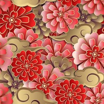チャイニーズピンクレッドゴールドの花とスパイラルクラウドのシームレスなパターン