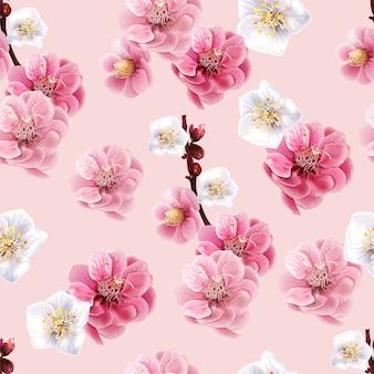 Chinese plum seamless pattern