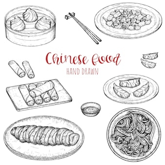 Chinese popular dishes hand drawn set, sketched isolated illustration of meals.