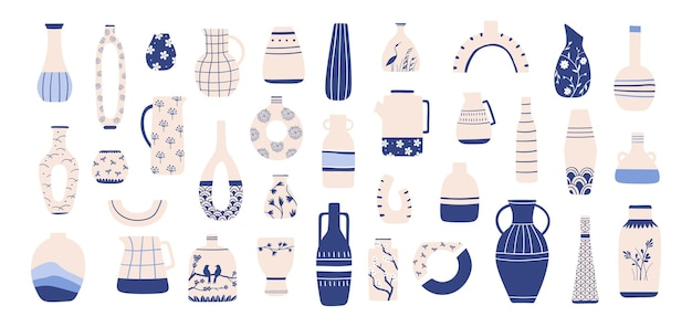 Китайская фарфоровая ваза. антикварная синяя керамика из шинуазри с восточным узором. китайские вазы, кувшины, чайники и кувшины для интерьера, векторный набор. иллюстрация ваза фарфоровое украшение, древняя керамика