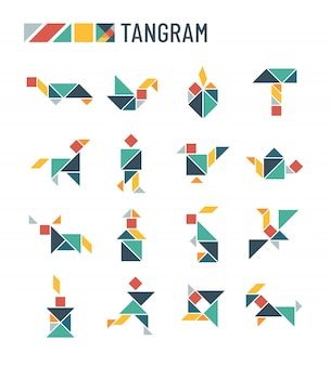 Chinese puzzle shapes cutting intellectual kids game - tangram origami set