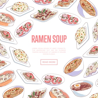 Chinese ramen soup banner with asian dishes