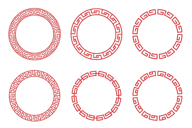 Chinese red circle set vector design on white background.