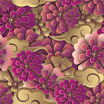 Chinese red gold flower and spiral cloud seamless pattern background.