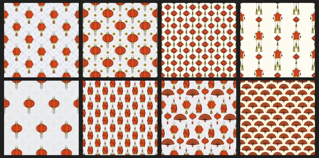 Chinese red paper lanterns seamless pattern. oriental decorations. asia and japan culture.