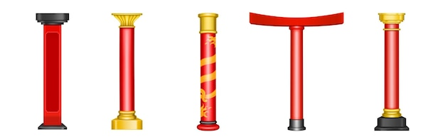 Chinese red pillars, historic gold architecture decor for asian temple, pagoda, gazebo, arch and gate.